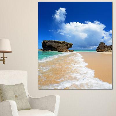 Designart Emerald Green Of Okinawa Beach Photography Canvas Art Print - 3 Panels
