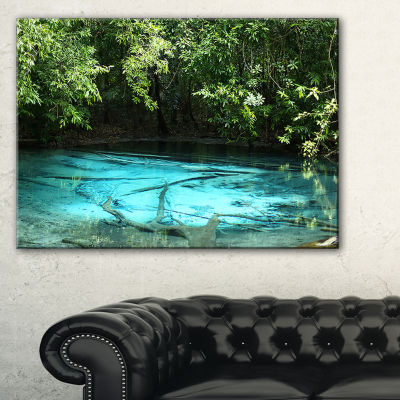 Designart Emerald Pond In Deep Forest Landscape Photography Canvas Print - 3 Panels