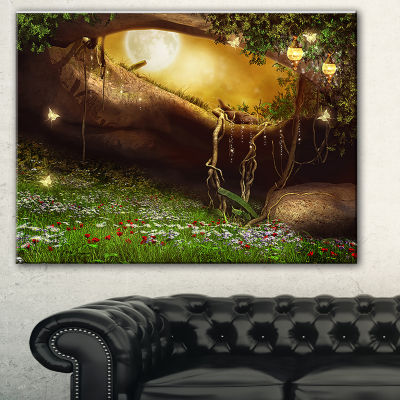 Designart Enchanted Cave With Flowers Landscape Canvas Art Print
