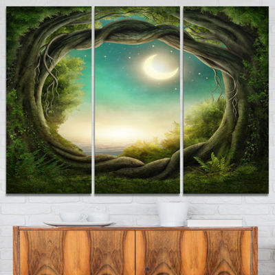 Designart Enchanted Dark Forest Landscape Photography Canvas Print - 3 Panels