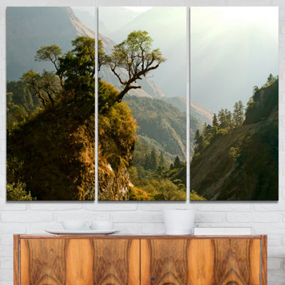 Designart Enchanted Nepal Mountains Landscape Photography Canvas Art Print - 3 Panels