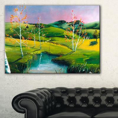 Designart Endless Green Pastures Landscape Painting Canvas Print