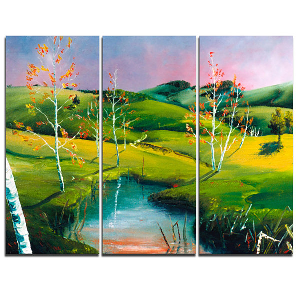Designart Endless Green Pastures Landscape Painting Canvas Print - 3 Panels