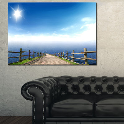 Designart Endless Pier Into Blue Sea Seascape Photography Canvas Art Print - 3 Panels