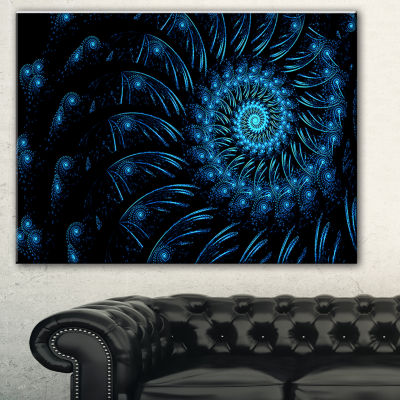 Designart Endless Spiral Snail Blue Abstract Canvas Art Print