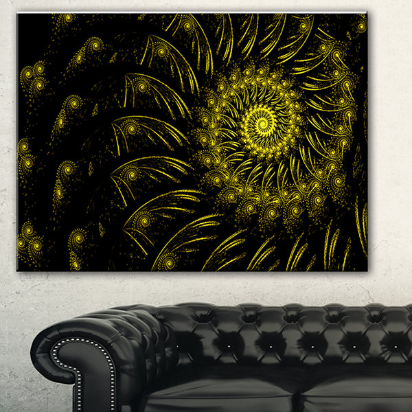 Design Art Endless Spiral Snail Yellow Abstract Canvas Art Print