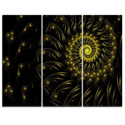 Designart Endless Spiral Snail Yellow Abstract Canvas Art Print - 3 Panels