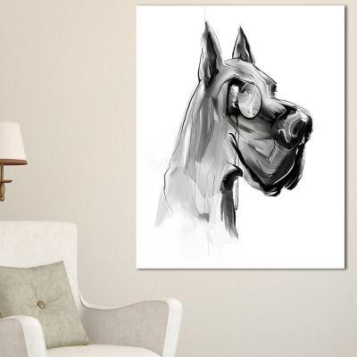 Designart English Bulldog With Monocle Animal Canvas Art Print