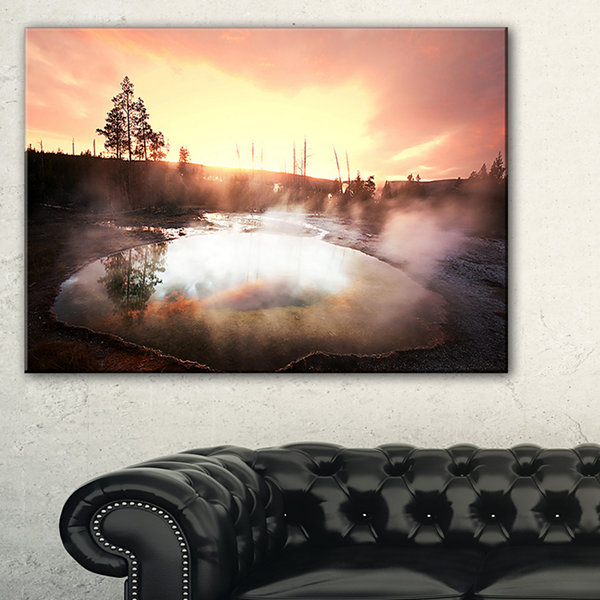Designart Evening At Morning Glory Pool LandscapePhotography Canvas Print