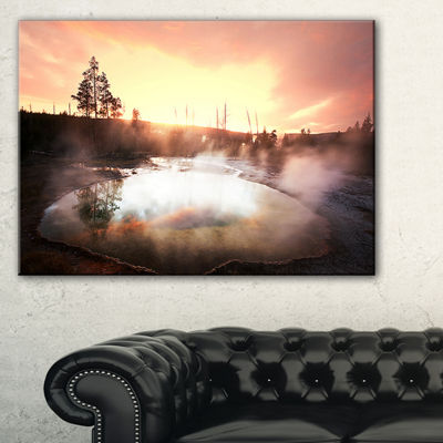 Designart Evening At Morning Glory Pool LandscapePhotography Canvas Print - 3 Panels