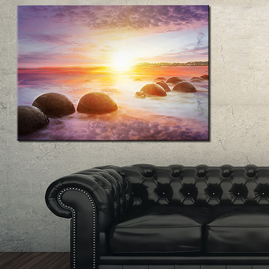 Designart Evening Sun Over Moeraki Boulders Seashore Photo Canvas Print
