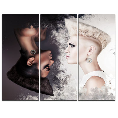 Designart Evil And Good Beautiful Women PortraitCanvas Art Print - 3 Panels