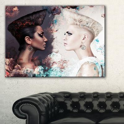 Designart Evil And Good Women Face To Face Large Portrait Canvas Art Print