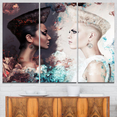 Designart Evil And Good Women Face To Face Portrait Canvas Art Print - 3 Panels
