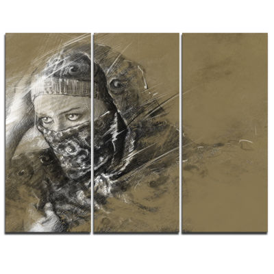 Designart Exotic Arabic Woman Abstract Portrait Canvas Print - 3 Panels