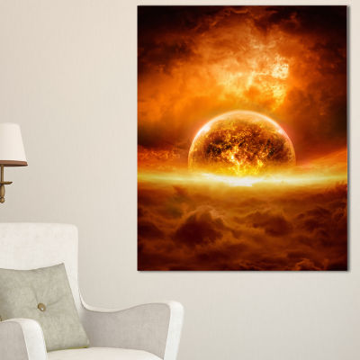Designart Exploding Planet Spacescape Canvas ArtPrint - 3 Panels