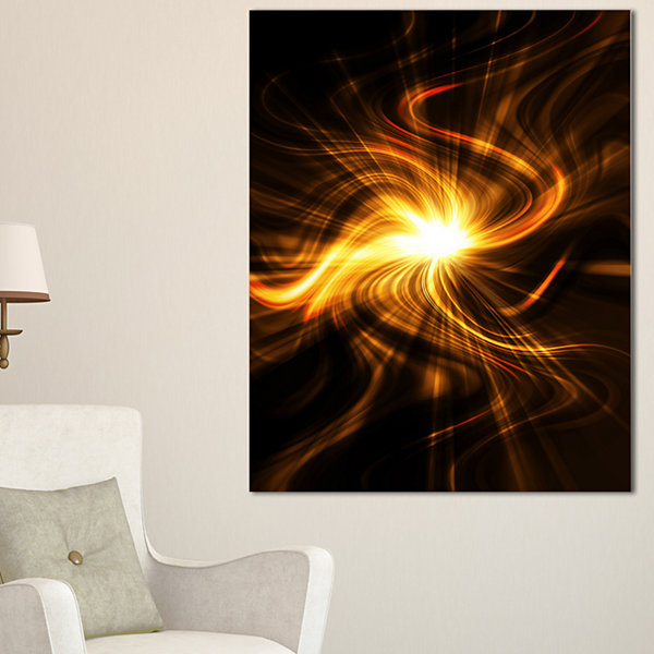 Designart Explosion Of Fire In Black Abstract Canvas Art Print - 3 Panels