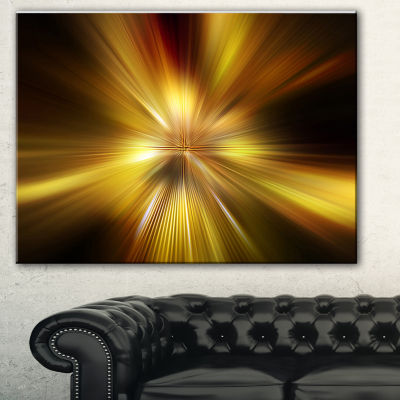 Designart Explosion Of Golden Hue Abstract CanvasArt Print - 3 Panels