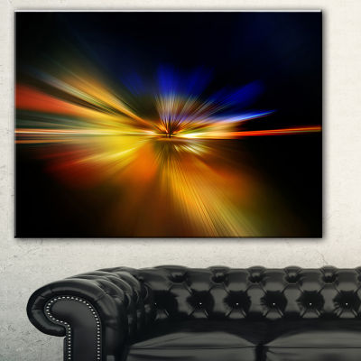 Designart Explosion Of Light In Black Abstract Canvas Art Print - 3 Panels