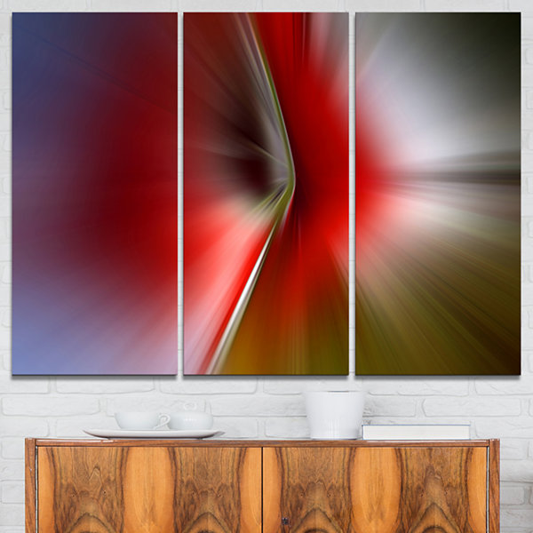 Design Art Explosion Of Red On Purple Abstract Canvas Art Print - 3 Panels