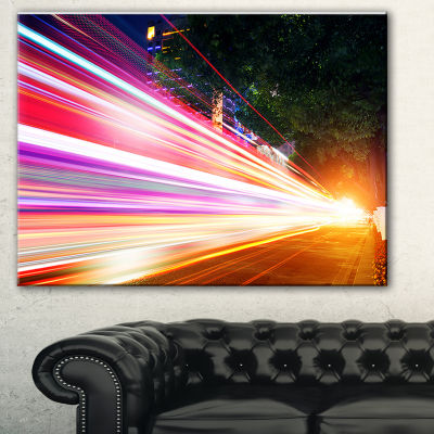 Designart Expressway Light Trails Cityscape PhotoCanvas Art Print - 3 Panels