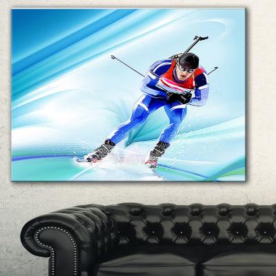 Designart Extreme Male Skier Portrait Canvas ArtPrint - 3 Panels