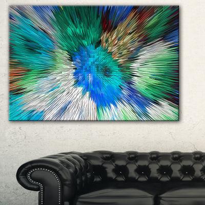 Designart Extrusive 3D Fabric Flowers Blue FloralArt Canvas Print - 3 Panels