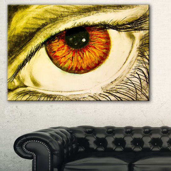 Designart Eye With Orange Pupil Abstract PaintingCanvas Art Print