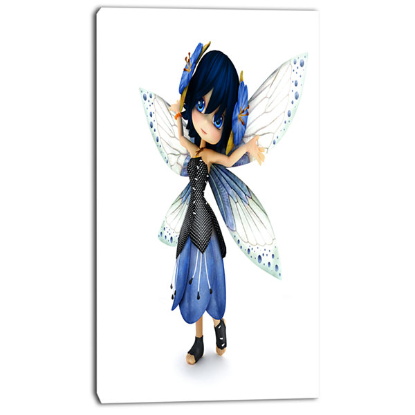 Designart Fairy Blue Woman With Wings Abstract Portrait Canvas Art Print