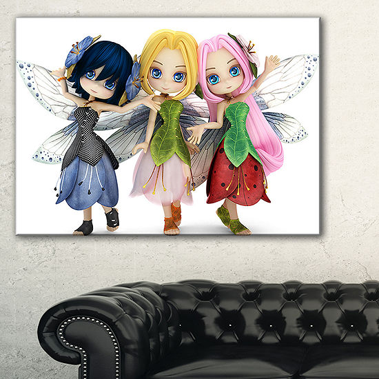 Designart Fairy Friends Posing Together AbstractPortrait Canvas Art Print - 3 Panels