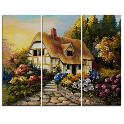 Designart Fairy House Oil Painting Landscape Painting Canvas Print - 3 Panels