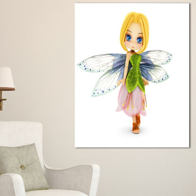 Designart Fairy Woman With Blue Wings Floral Painting Canvas
