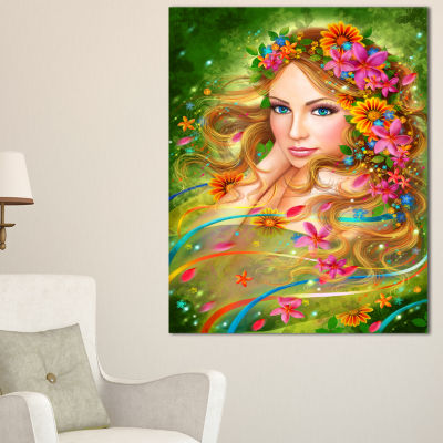 Designart Fairy Woman With Colorful Flowers FloralArt Canvas Print