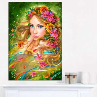 Designart Fairy Woman With Colorful Flowers FloralArt Canvas Print - 3 Panels