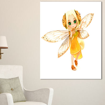 Designart Fairy Woman With Yellow Wings Floral Painting Canvas
