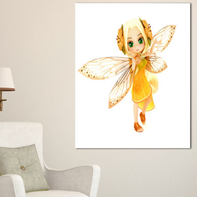 Designart Fairy Woman With Yellow Wings Floral Painting Canvas - 3 Panels
