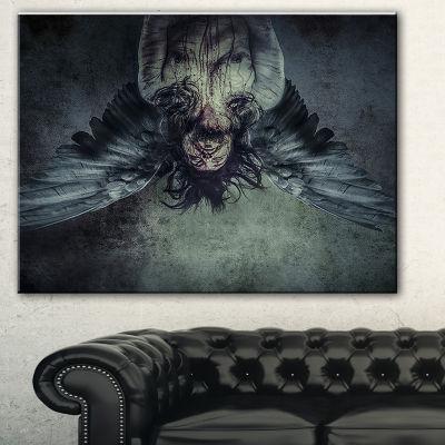 Designart Fallen Angel Of Death Abstract PortraitCanvas Print