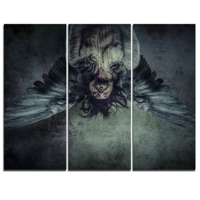 Designart Fallen Angel Of Death Abstract PortraitCanvas Print - 3 Panels