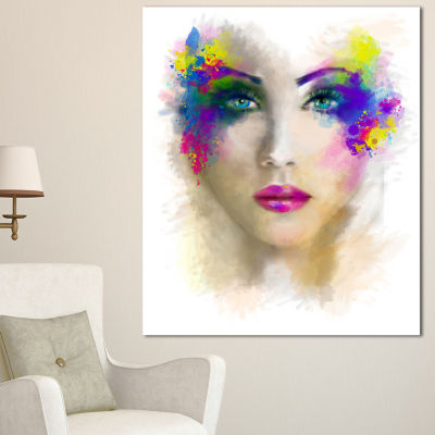 Designart Fantast Woman With Blue Flowers AbstractPortrait Canvas Print