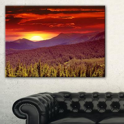 Design Art Fantastic Sunrise In Mountains LandscapePhotography Canvas Print