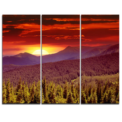 Designart Fantastic Sunrise In Mountains LandscapePhotography Canvas Print - 3 Panels