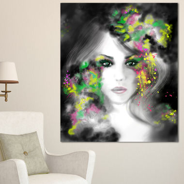 Designart Fantasy Portrait Woman Abstract PortraitCanvas Print