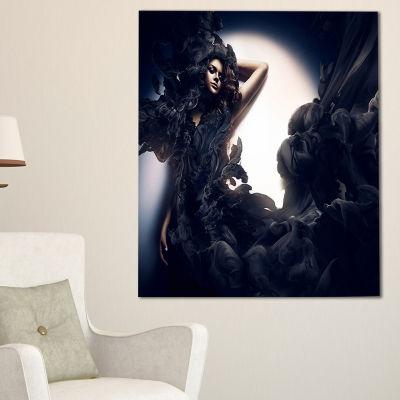 Designart Fashion Woman In Black Smoke Portrait Canvas Art Print