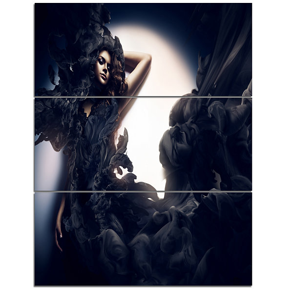 Designart Fashion Woman In Black Smoke Portrait Canvas Art Print - 3 Panels