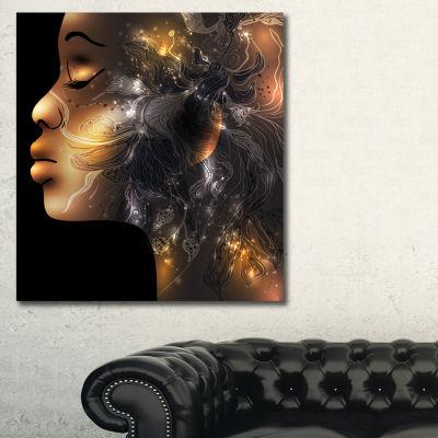 Designart Female Face Vector Abstract Canvas ArtPrint - 3 Panels