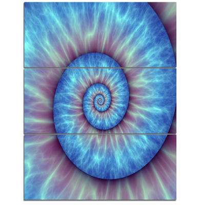 Designart Fibonacci Pattern Blue Abstract CanvasArt Print - 3 Panels