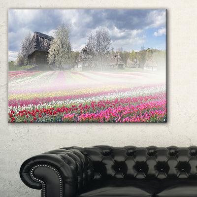 Designart Field Of Tulips In Pirogovo Landscape Photo Canvas Art Print
