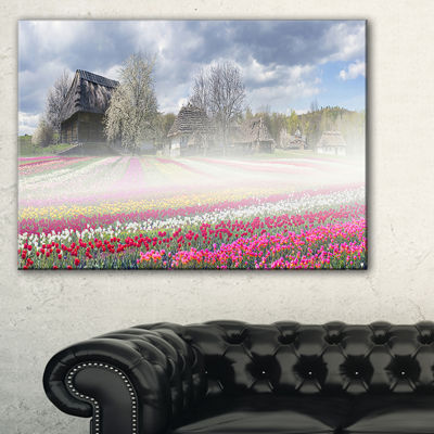Designart Field Of Tulips In Pirogovo Landscape Photo Canvas Art Print - 3 Panels