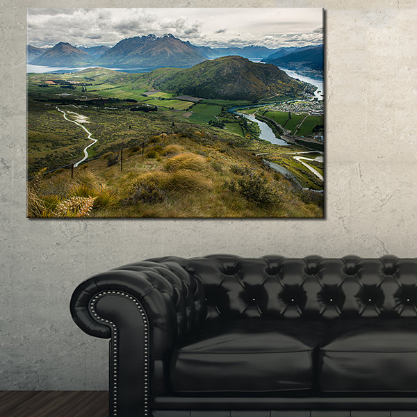 Designart Fields And Hills In New Zealand Landscape Photography Canvas Print - 3 Panels
