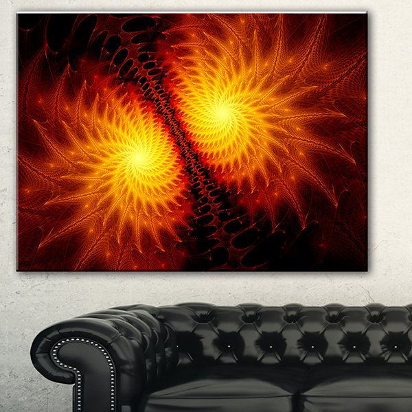 Designart Fiery Wings Of Dragon Abstract Canvas Art Print